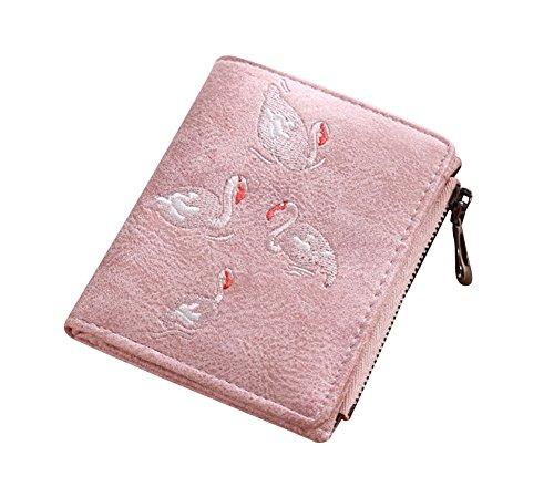 Signora Pink Finta Moda Pelle Casual Ricamato Borsetta Da Cigno Portafogli In Borsa Donna Grigio OCPqBxw