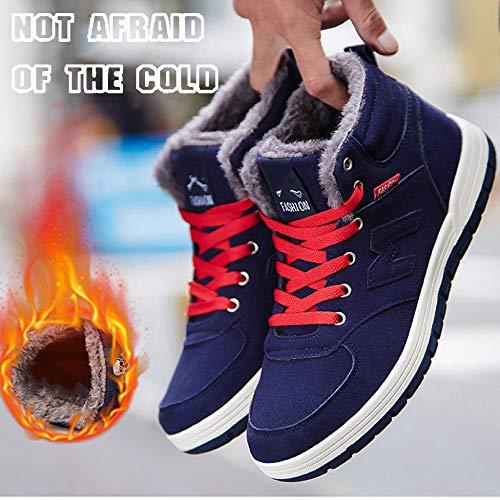 Hiver Blue Baskets Hommes Coton Et Fourrure De En Pour Montantes Avec Doublure Sport Chaussures OSqR7Bwx