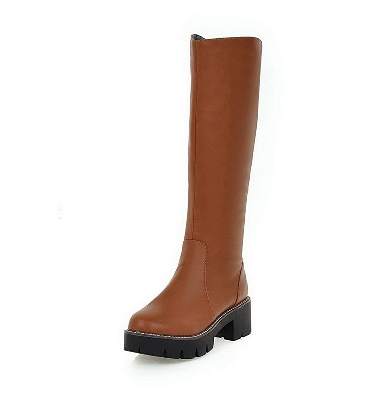 AllhqFashion Women's Pull-On Round Closed Toe Kitten-Heels PU High-Top Boots