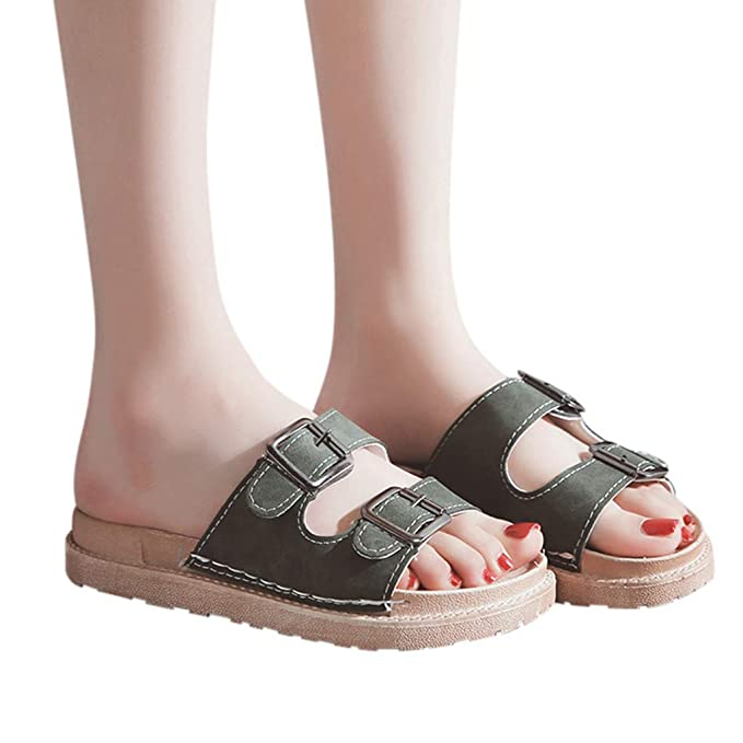 b6f7bf63e7bc Women Slip on Sandals Flat Hollow Out Buckle Slippers Ladies Summer Beach  Flip Flops Thong Casual