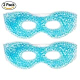 Therapeutic Spa Gel Bead Eye Mask - Hot or Cold Reusable Ice Packs with Flexible Beads - Compress Therapy for Puffy Eyes, Dark Circles, Headaches, Migraines, Stress Relief, Facial Pain - 2 Pack