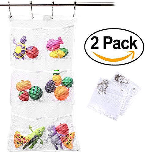 Meiyiu Practical Quick Dry Hanging Bag Holder And Bath Organizer Mesh Shower Caddy Hang Bathroom Accessories   2 Set 6 Pocket 8 Rings