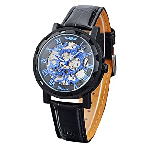 Vantasy Men's Luxury Blue Dial Stainless Steel Hand Wind Skeleton Analog Mechanical Leather Wrist Watch