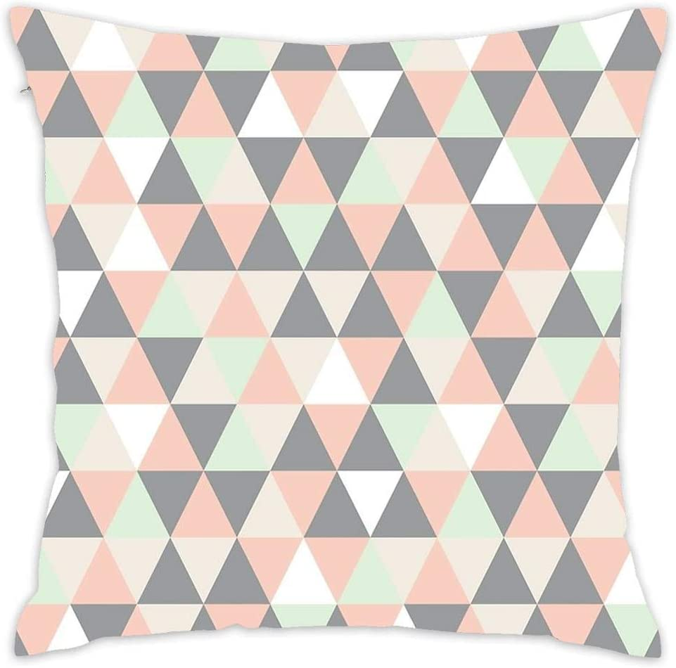 Pastel and Grey Triangles Pillow Case
