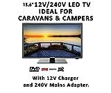Manta Super Slim Digital Freeview TV 15.6'' Dual Voltage 12v/230v With Built In DVD Player Suitable for Home, Caravan, Motorhome, Truck, Boat etc.