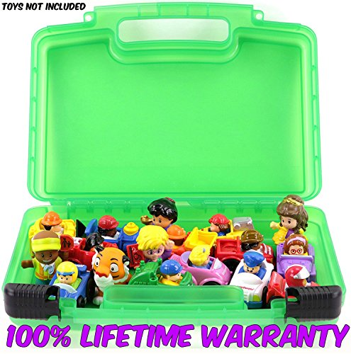 Life Made Better Toy Storage Organizer - Compatible With Little People Mini Figures - Durable Carrying Case- Green