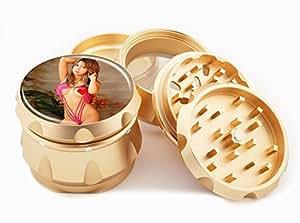 "Asian Girl Design Premium Grade Aluminum Tobacco,Herb Grinder -4Pcs Large (2.5"" Gold) # GLD-G121114-0023"