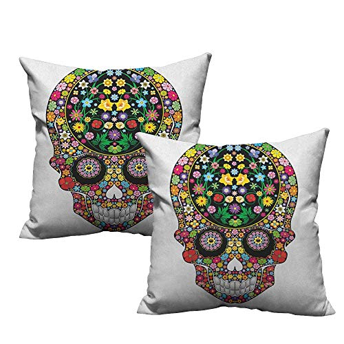 Blossom Time Sugar Bowl - RuppertTextile Living Room Sofa Hug Pillowcase Sugar Skull Springtime Garden Wild Blossoms Vegetation Calavera Inspiration Human Death Anti-Fading W20 xL20 2 pcs
