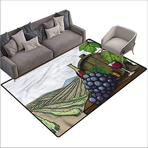 Dining Table Rugs Wine,Views of Vineyards Grapes 36