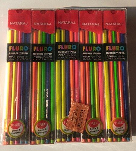 Nataraj FLURO Rubber Tipped Super Dark Neon Pencils - 50 Packs of ()