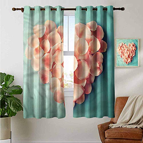 fengruiyanjing Extra Long and Wide Curtain Personalized for Home Decoration, Coral, Heart Shaped Flower Petals (Set of 2 Panels)