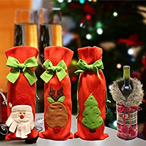 Coperchio della Bottiglia di Vino di Natale,Sacchetti della Bottiglia di Vino di Natale,Christmas Wine Bottle Cover,Natalizia Sacchetto Regalo Vino,4pcs 1 spesavip