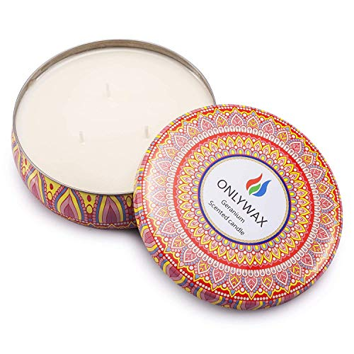 Onlywax Scented Candles Soy Wax 3 Wick Tin 70 Hour Burn,Essential Oils–for Stress Relief and Relaxation,Outdoor and Indoor by Onlywax