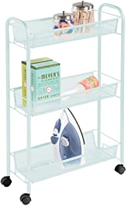 mDesign Portable Rolling Laundry Utility Cart Organizer Trolley with Easy-Glide Wheels and 3 Multipurpose Heavy-Duty Metal Mesh Basket Shelves - Narrow Shelf - Durable Steel Frame - Mint Green