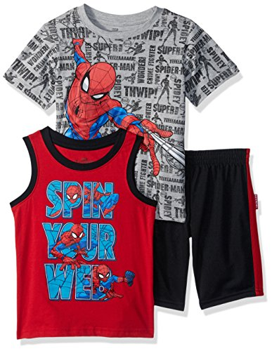 - Marvel Boys' Little Spiderman 3 Piece Short Set, Grey, 4