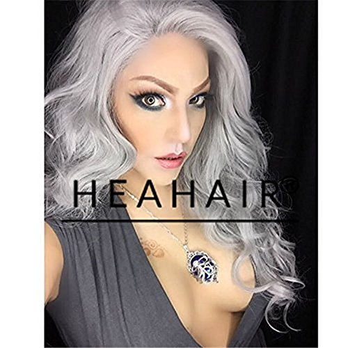 Cosplay Tutorial Costume (Heahair Fashion Color Sliver Long Wavy Synthetic Lace Front Wig for Cosplay)