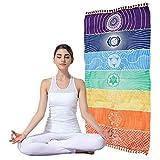 ASOSMOS Tapiz con diseño de chakra de arcoíris, toalla, tapete de yoga, tapete de playa, cobija con diseño de mandala, con franjas, tapiz para colgar de la pared