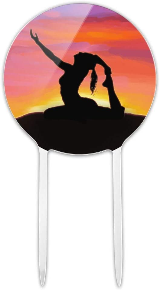 GRAPHICS & MORE Acrylic Yoga Silhouette Against Sunrise Cake Topper Party Decoration for Wedding Anniversary Birthday Graduation