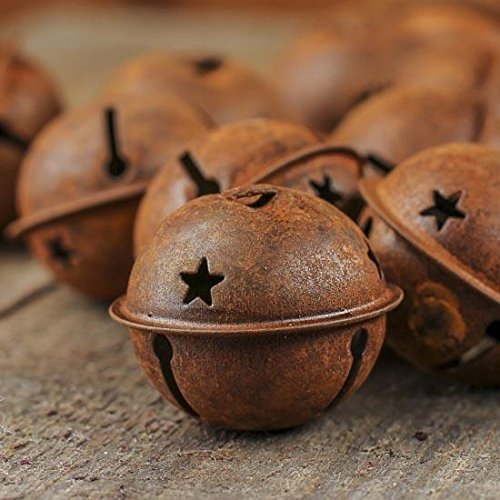 Group of 20 for Primitive Look Rusty Metal Star Cutout Jingle Bells for Christmas, Holiday or Everyday Crafting and Embellishing