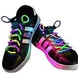 AGPtek 3 Mode LED Light Up Shoe Shoelaces Shoestring Flash Glow Stick Strap for Party Hip-hop Skating Running Cosplay Decoration