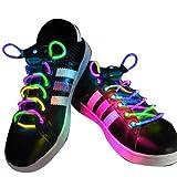 AGPtek Colorful 3 Mode LED Light Up Shoe Shoelaces Shoestring Flash Glow Stick Strap For Party Hip-hop Skating Running Cosplay Decoration