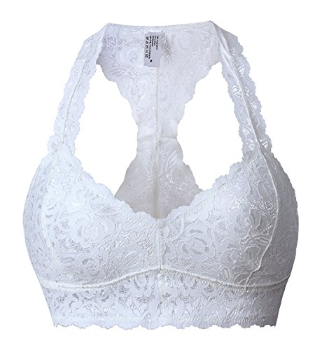 Lacy White Bra - SHAPERX Women Floral Lace Padded Bralette Racerback Wireless Lingerie Bra Crop Top with Removable Cups,SZ8333-White-M