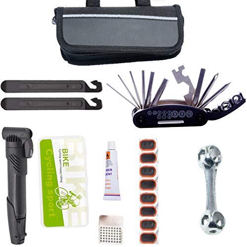 Sporeek Portable Bike Repair Tools Kit 16-in-1 Bicycle Multi-Tool Set with Nylon Bike Saddle Bag, Repair Kit with Pump, Bike Tire Repair Kit