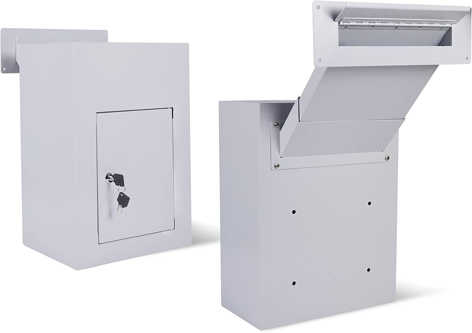 Drop Slot Safes Dropbox Key Drop Box Mail Slots for Walls Mail Catcher with Safe Anti Theft Lock Adjustable Chute Easy to Deposit Wall Mounted Mailbox for Cash Money Documents Home Office Color Grey