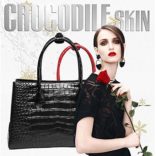 Sacs Nouvelle Sac capacité A Zipper à Femme Ladies Main Grande black Sac Crocodile WWAVE Sac Peau pour Dames Cuir dAYd4q