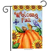 """Welcome Fall Pumpkin Garden Flag Sunflowers Birds Autumn 12.5"""" x 18"""""""