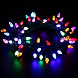 [UL Listed]Outdoor LED String Lights Weatherproof Strawberry Lights,18 feet 50 LEDs Colored Christmas Light Strands C3 Bulbs for Patio Garden Holiday Indoor Home Decorating