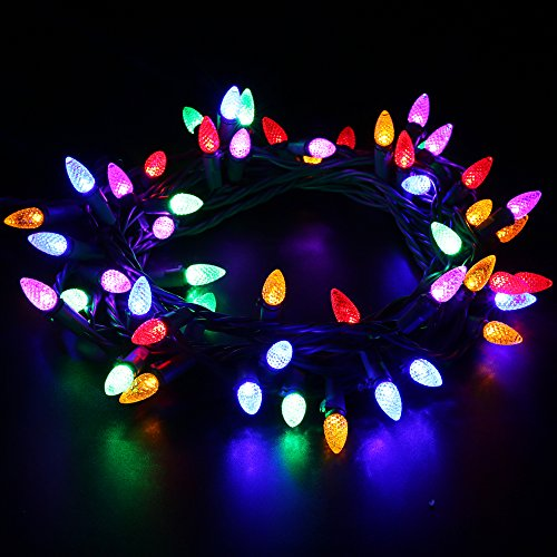 maxinda ul listed outdoor led string lights weatherproof strawberry lights18 feet 50 leds colored christmas light strands c3 bulbs for patio garden