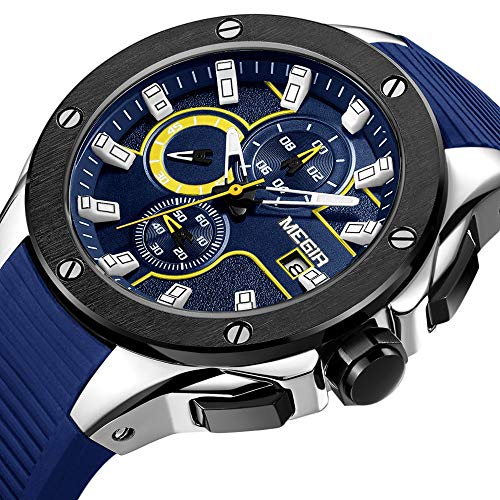 Amazon.com: Megir Mens Chronograph Quartz Watches Mens Analogue Military Luminous Blue Dial Wrist Quartz Watch with Stylish Sport & Business Work Strap: ...