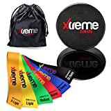 Resistance Bands And Core Exercise Sliders - Set of 6 Exercise Bands - Set of 2 Smooth Gliding Dual-Sided Design Professional Quality Ab Glider Workout Discs (Black) For Legs, Yoga, Pilates & Strength Training.