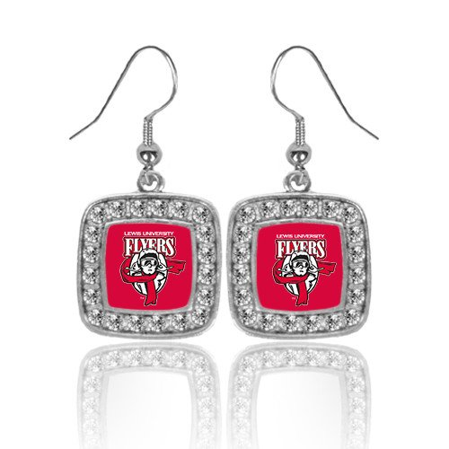 Primary Logo Earrings (Lewis Crystal Studded Square Pendant Silver Dangle Earrings 'Primary Logo')