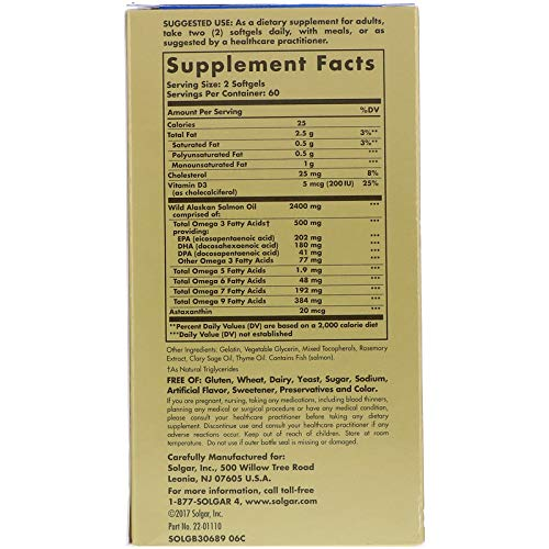 Solgar Wild Alaskan Full Spectrum™ Omega, Tested for Optimum Purity & Potency, Non-GMO, 120 Softgels