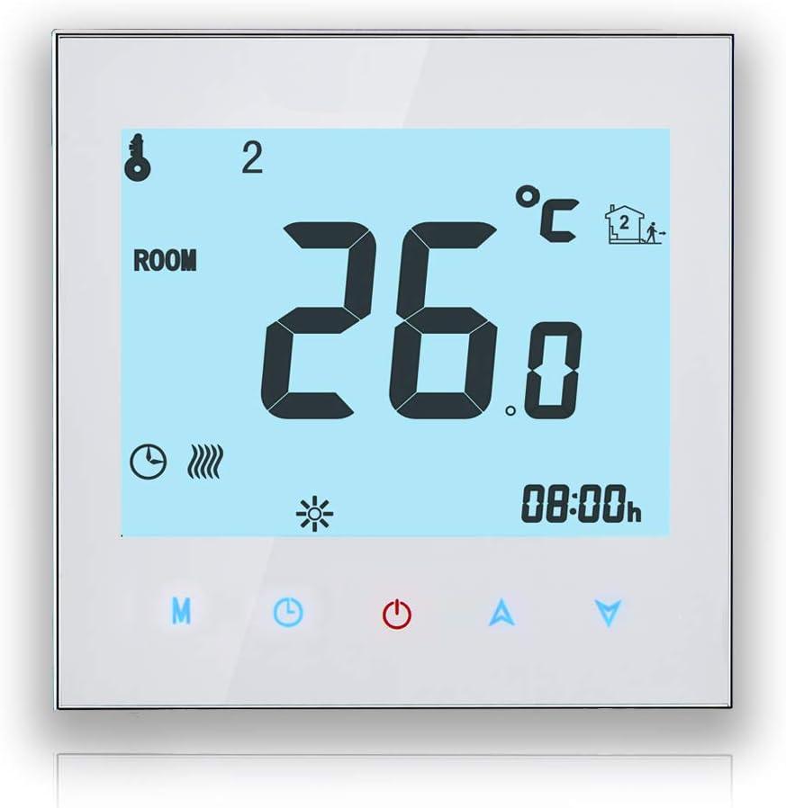BECA 1000 Series 3/16A Pantalla táctil LCD Agua/Calefacción eléctrica/Caldera Termostato de control de programación inteligente con conexión WIFI (Calentamiento de agua, Blanco)