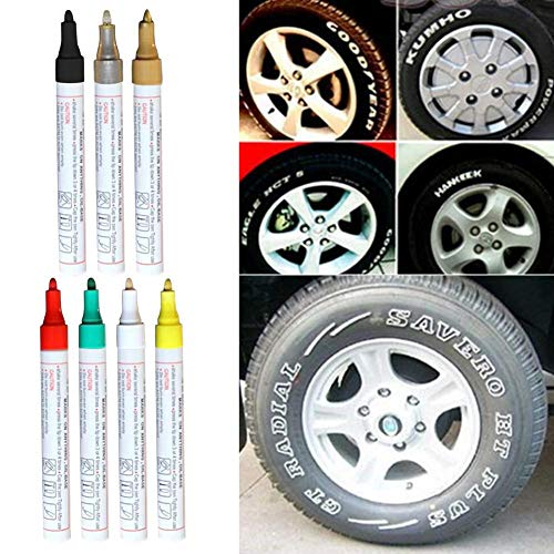Funarrow Universal Waterproof Permanent Paint Marker Pen Car Tyre Tire Tread Rubber Metal, Non-Toxic and Tasteless, Suitable for All Types of Tires, Comfortable to Use