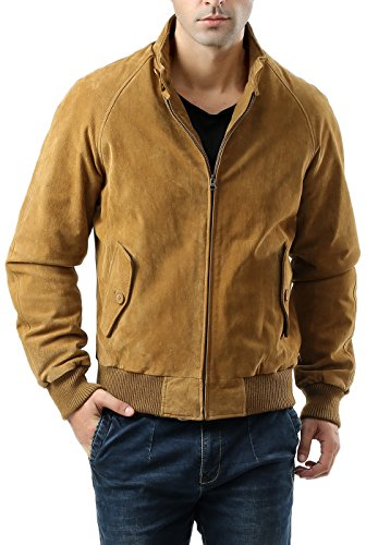 Landing Leathers Men's WWII Suede Leather Bomber Jacket - Camel XL (Suede Leather Outerwear Jacket Mens)