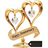 "Matashi ""Happy Anniversary"" Double Heart Table Top Ornament With Crystals (Happy Anniversary, Gold w/ Clear Crystals)"