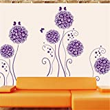 Amaonm® Purple Hydrangea Shape Dandelions Nursery Flowers Wall Decals Removable Butterfly Home Art Decor Decal Wall Stickers Murals for Kids Girls Room Bedroom Living Room Tv Background Decorations
