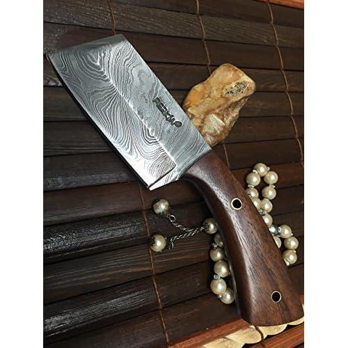 couteau de chasse damas avec étui en cuir - couteau hachoir ... 71186a04619