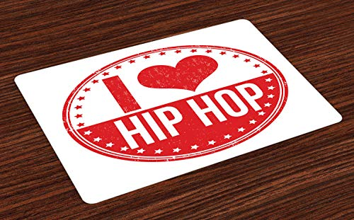 Ambesonne Hip Hop Place Mats Set of 4, I Love Hip Hop Phrase on a Circular Grungy Background with Star Shapes, Washable Fabric Placemats for Dining Room Kitchen Table Decor, White and Vermilion