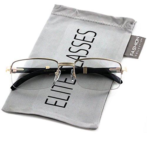 d77f52250c Elite WOOD Art Nouveau VINTAGE Semi Rimless Style Gangster RICH Frame  EyeGlasses (Gold Black