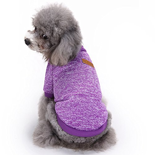 Picture of Pet Dog Classic Knitwear Sweater Warm Winter Puppy Pet Coat Soft Sweater Clothing For Small Dogs (XXS, Purple)