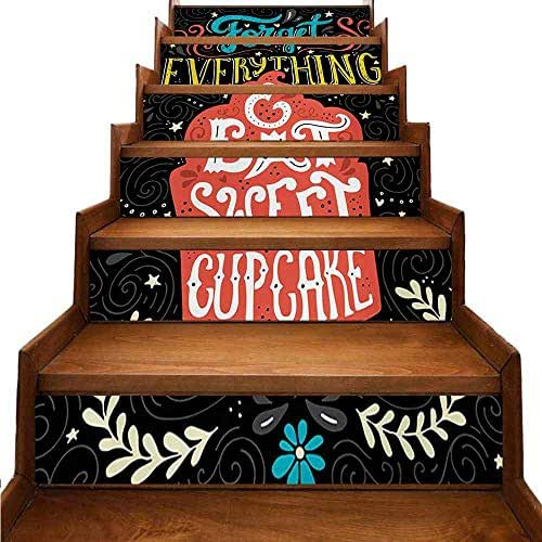 Quote Self-Adhesive Stairs Stickers Forget Everything and Eat Sweet Cupcake Phrase with Doodle Floral Ornaments Print Eco-Friendly PVC Multicolor W 39