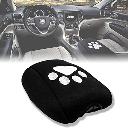 Sunluway For Jeep Grand Cherokee 2011-2017 Center Console Armrest Pad Cover Black Dog Paw Sewing Protector Cushion