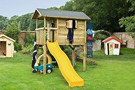 Casa de juguete de madera casa de zancos casa torre de escalada CON tobogán techo de cartón