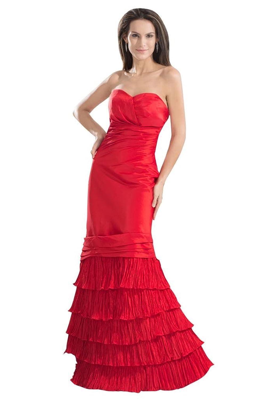 GEORGE BRIDE Elegant Formal Red Long Strapless Cocktail Dress