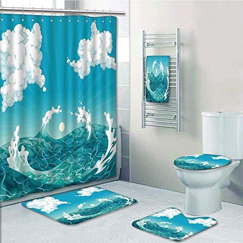 Bathroom Fashion 5 Piece Set shower curtain 3d print,Nautical,Foamy Ocean Waves with Fluffy Clouds in Air Sun Summer Sea Display,Sky Blue White Turquoise,Bath Mat,Bathroom Carpet Rug,Non-Slip,Bath (Turquoise New Wave Rug)
